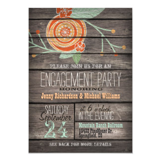 Orange & Mint Green; Rustic Engagement Party Card
