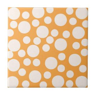 Orange Modern Dots Pattern Ceramic Tiles