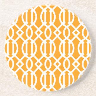 Orange Modern Trellis Pattern Coaster