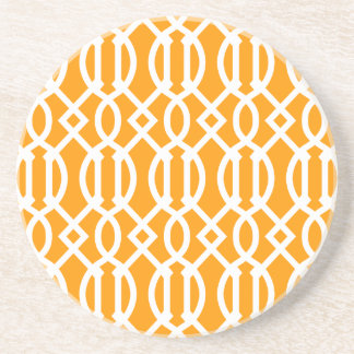 Orange Modern Trellis Pattern Drink Coaster