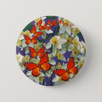 Orange Monarch Butterflies Narcissus Art 6 Cm Round Badge
