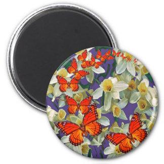Orange Monarch Butterflies Narcissus Art 6 Cm Round Magnet