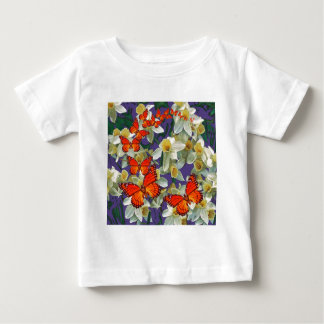 Orange Monarch Butterflies Narcissus Art Baby T-Shirt