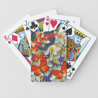 Orange Monarch Butterflies Narcissus Art Bicycle Playing Cards