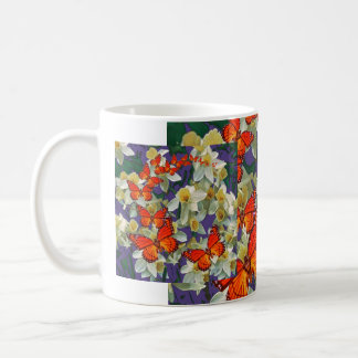 Orange Monarch Butterflies Narcissus Art Coffee Mug