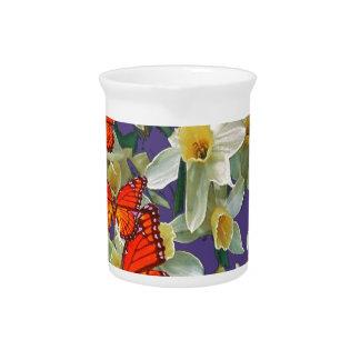 Orange Monarch Butterflies Narcissus Art Pitcher
