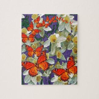 Orange Monarch Butterflies Narcissus Art Puzzle
