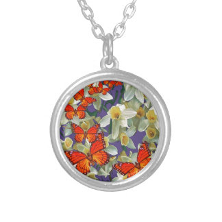 Orange Monarch Butterflies Narcissus Art Silver Plated Necklace
