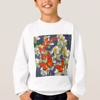 Orange Monarch Butterflies Narcissus Art Sweatshirt