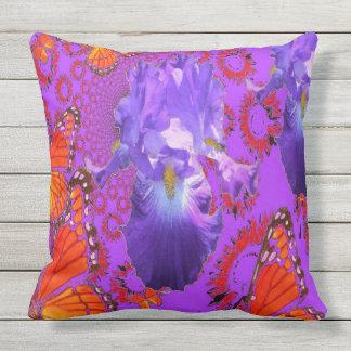 Orange Monarch Butterflies Purple Iris Patterns Throw Pillow