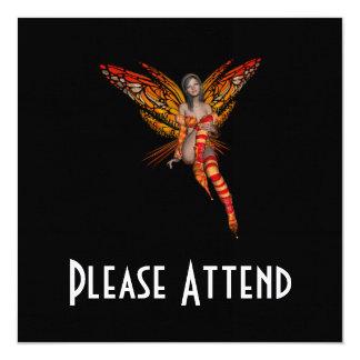 Orange Monarch Butterfly 3D Pixie - Fairy 1 Personalized Invite