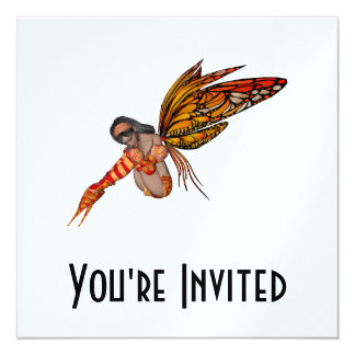 "Orange Monarch Butterfly 3D Pixie - Fairy 2 5.25"" Square Invitation Card"