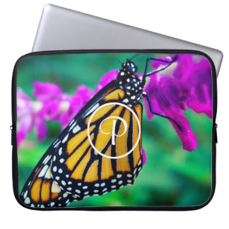 Orange monarch butterfly close-up custom monogram laptop sleeve