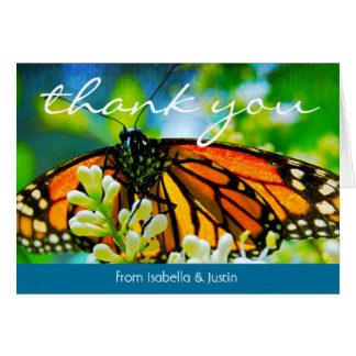 Orange monarch butterfly photo thank you card