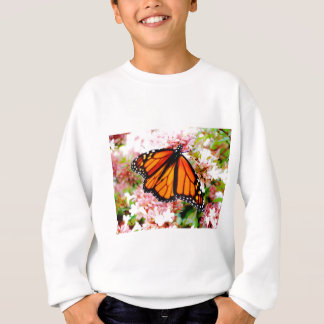 Orange Monarch on pink flowers Sweatshirt