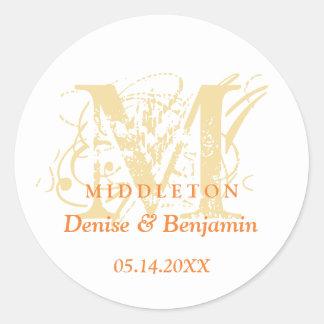Orange monogram antique chic label wedding favor round sticker