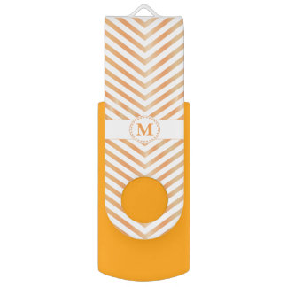 Orange Monogram & Chevrons-USB Swivel Flash Drive