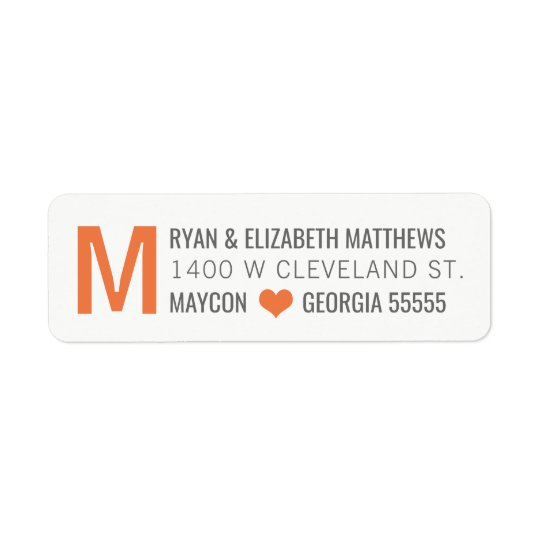 Orange Monogram Custom Return Address Label