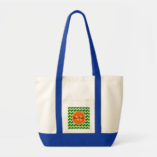 Orange Monogram Green Chevron Patchwork Pattern Tote Bag