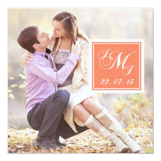 Orange Monogrammed Photo Wedding Invitation