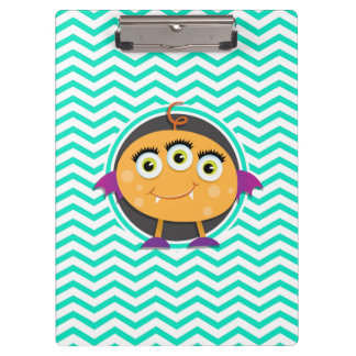 Orange Monster; Aqua Green Chevron Clipboard