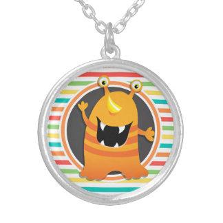 Orange Monster Bright Rainbow Stripes Necklaces