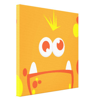 Orange Monster Face Wrapped Canvas Stretched Canvas Prints