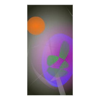 Orange Moon Purple Egg Customized Photo Card