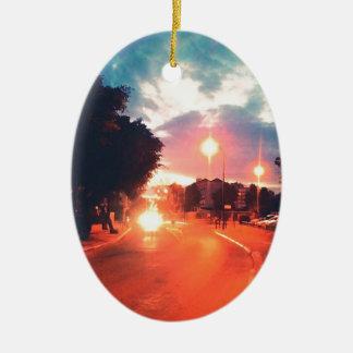 Orange morning ceramic ornament