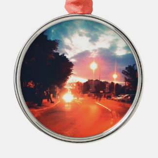 Orange morning metal ornament