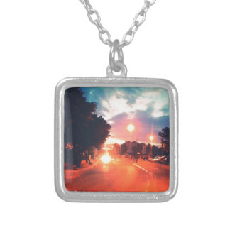 Orange morning silver plated necklace