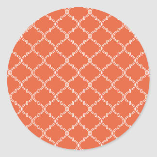 Orange Moroccan Pattern Classic Round Sticker