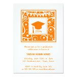 Orange Mortarboard Modern Graduation Invitations