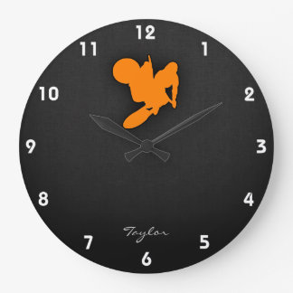 Orange Motocross Clocks