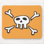 Orange mousepad with pirate skull cartoon for kids