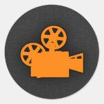 Orange Movie Camera Round Sticker