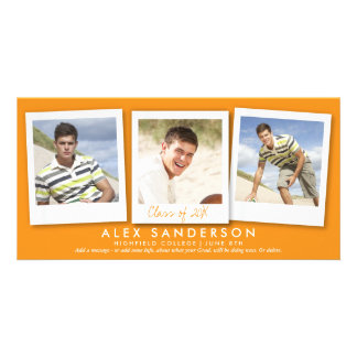 Orange Multi Photo Graduation Announcement Card