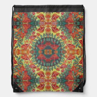 orange mushroom mandala drawstring backpack