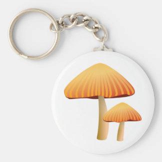 Orange Mushrooms Basic Round Button Key Ring