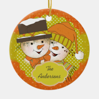 Orange/Mustard Dotted Snowmen Holiday Ornament