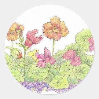 Orange Nasturtiums Cottage Flower Garden Art Round Sticker