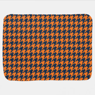Orange/Navy Blue Houndstooth Baby Blanket