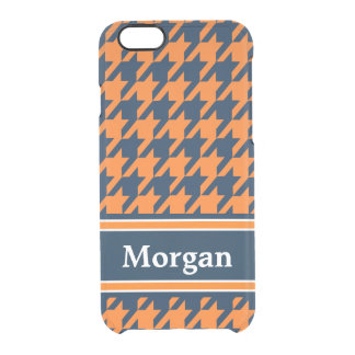 Orange/Navy Blue Houndstooth Clear iPhone 6/6S Case