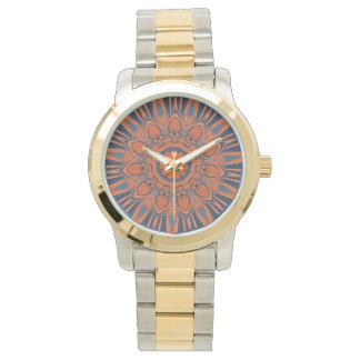 Orange Navy Blue Mandala Watch