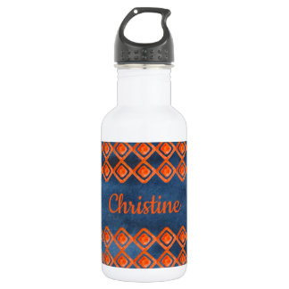 Orange Navy Blue Watercolor Pattern 532 Ml Water Bottle