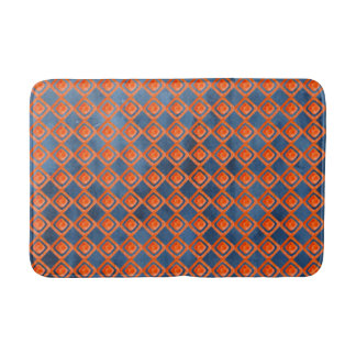 Orange Navy Blue Watercolor Pattern Bath Mat