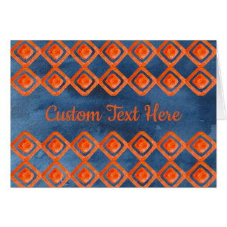 Orange Navy Blue Watercolor Pattern Card