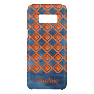Orange Navy Blue Watercolor Pattern Case-Mate Samsung Galaxy S8 Case