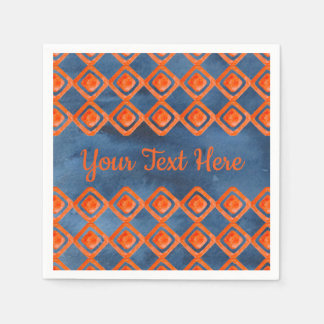 Orange Navy Blue Watercolor Pattern Paper Napkin