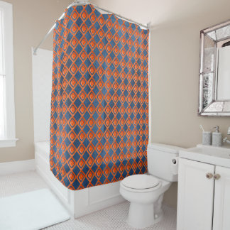 Orange Navy Blue Watercolor Pattern Shower Curtain